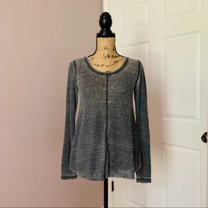 Free People Gray Burn Out Soft Long Sleeve Tee S